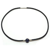 Gem Stone King 10mm Round Blue Shell Pearl Pendant Necklace With 18 Inch Rubber