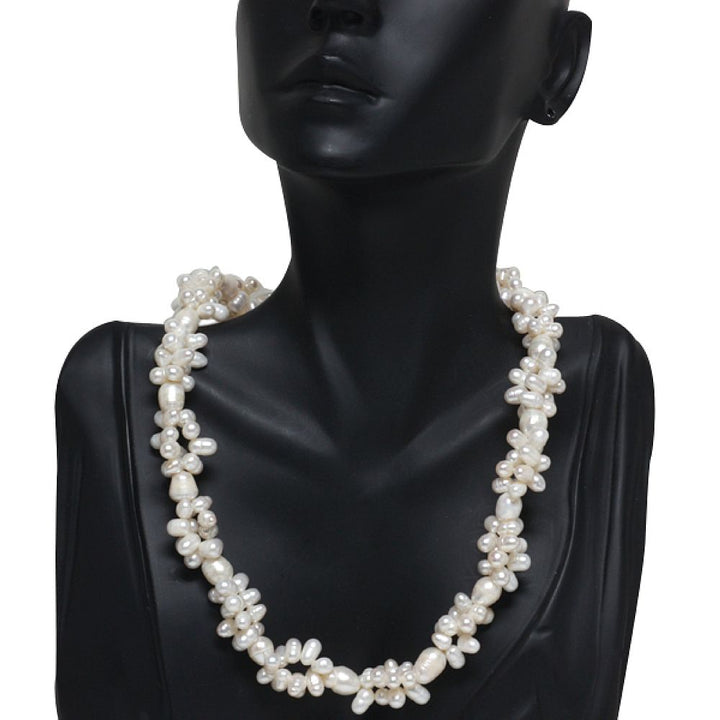 White Twist Rice Shape Cultured Freshwater Pearl 18 Inch Necklace