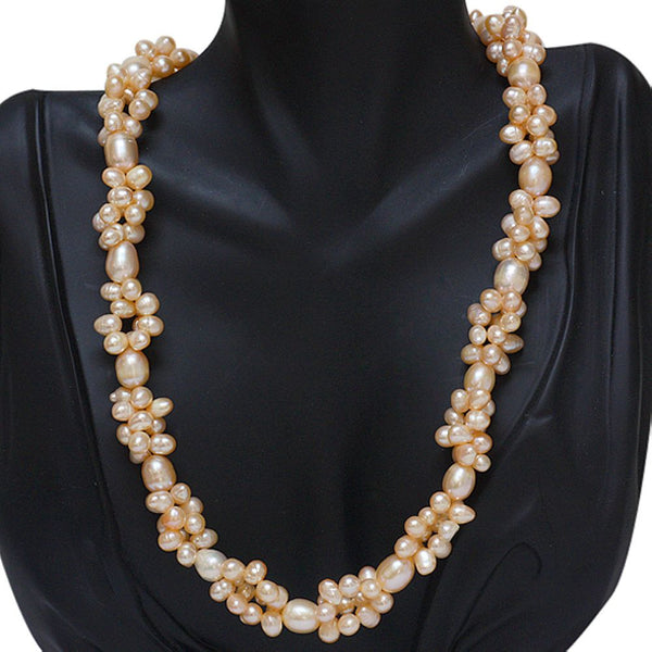 Gem Stone King Twisted Shape Cultured Freshwater Pearl Necklace 18inches W-Lobster Clasp
