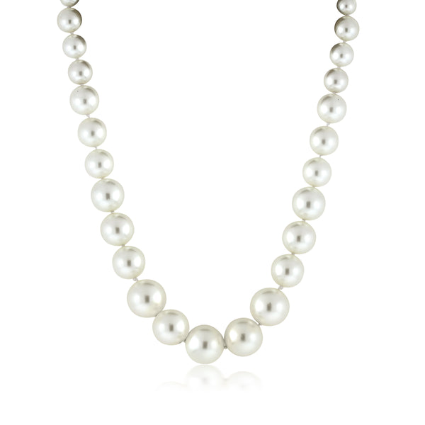 Round 8MM to 16MM White Simulated Shell Pearl Necklace 18 Inches