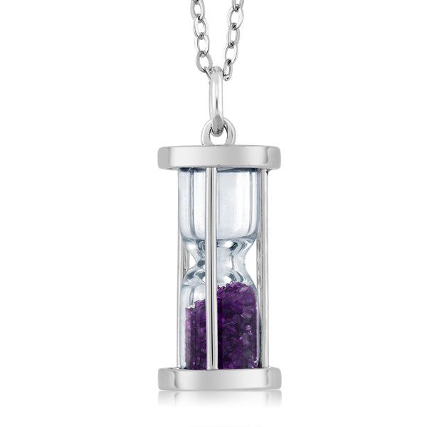 Gem Stone King 925 Sterling Silver Amethyst Dust Hourglass Pendant Necklace with 0.75 Ct with 18 Inch Silver Chain