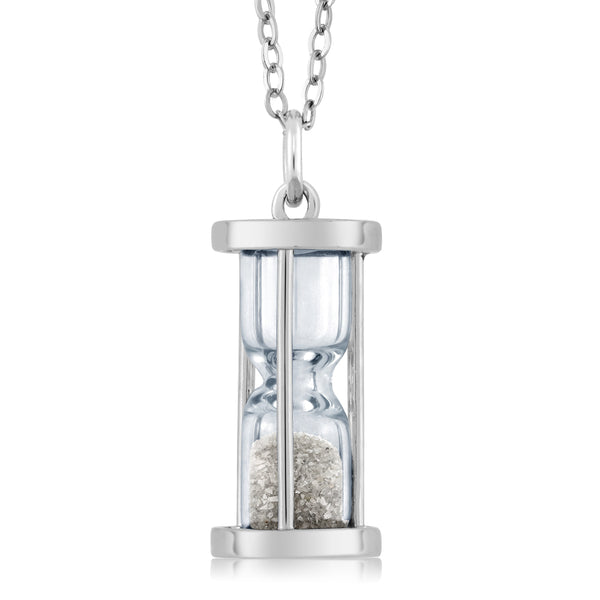 Gem Stone King 925 Sterling Silver Genuine Diamond Dust Hourglass Pendant Necklace (0.50 Ct, With 18 Inch Silver Chain)