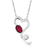 "Gem Stone King 0.55 Ct Oval Red Topaz Heart Shape 925 Sterling Silver Pendant 18"" Chain"
