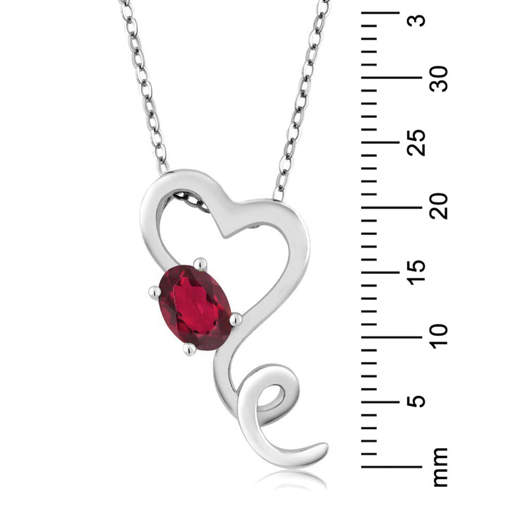 "0.55 Ct Oval Red Topaz Heart Shape 925 Sterling Silver Pendant 18"" Chain"