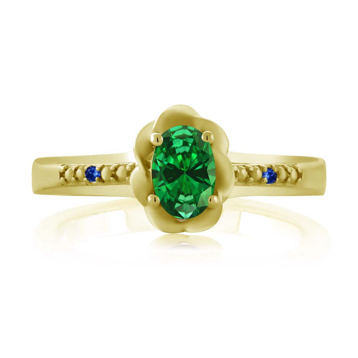 0.37 Ct Green Simulated Emerald Blue Sapphire 18K Yellow Gold Plated Silver Ring