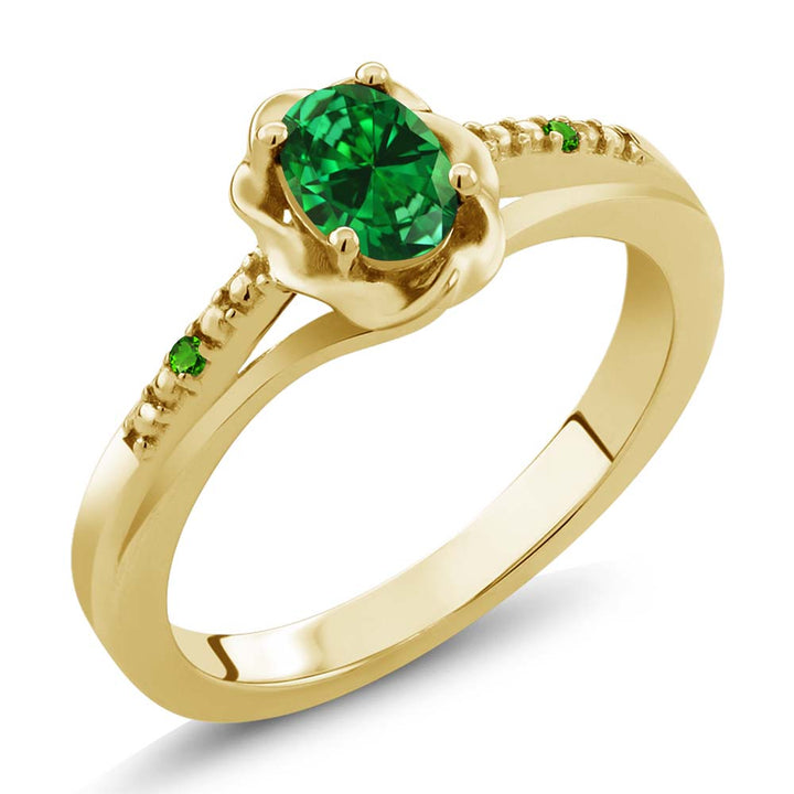 Gem Stone King 0.36 Ct Simulated Emerald Simulated Tsavorite 18K Yellow Gold Plated Silver Ring