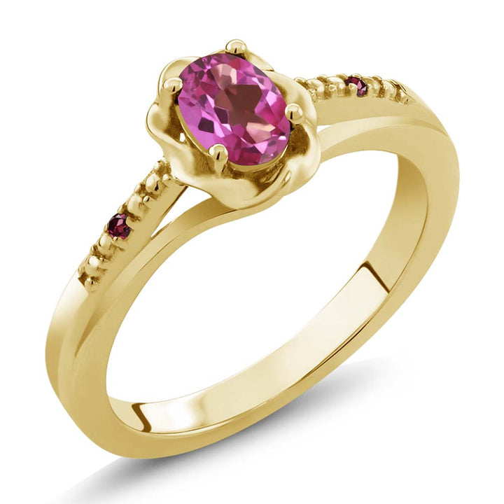 Gem Stone King 0.52 Ct Pink Mystic Topaz Red Rhodolite Garnet 18K Yellow Gold Plated Silver Ring