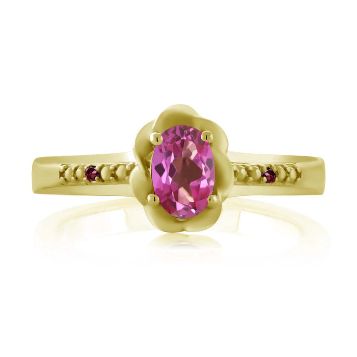 0.52 Ct Pink Mystic Topaz Red Rhodolite Garnet 18K Yellow Gold Plated Silver Ring