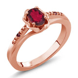 Gem Stone King 0.52 Ct Red Mystic Topaz Red Rhodolite Garnet 18K Rose Gold Plated Silver Ring