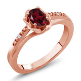 Gem Stone King 0.52 Ct Red Rhodolite Garnet White Created Sapphire 18K Rose Gold Plated Silver Ring