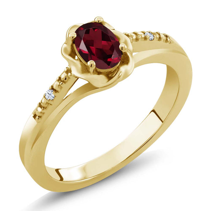Gem Stone King 0.52 Ct Red Rhodolite Garnet White Created Sapphire 18K Yellow Gold Plated Silver Ring