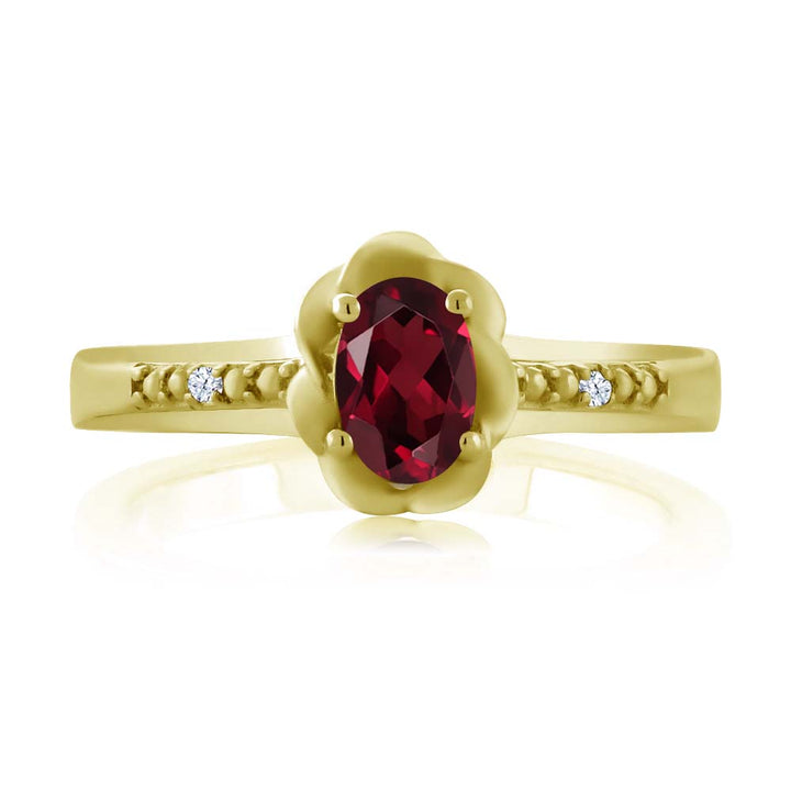 0.52 Ct Red Rhodolite Garnet White Created Sapphire 18K Yellow Gold Plated Silver Ring