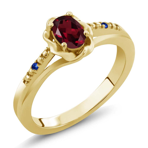 Gem Stone King 0.52 Ct Red Rhodolite Garnet Blue Sapphire 18K Yellow Gold Plated Silver Ring