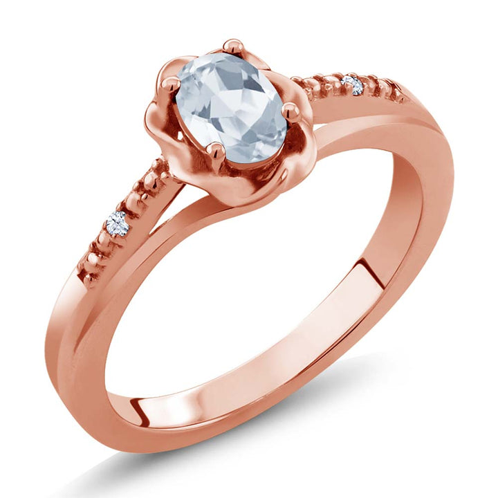Gem Stone King 0.52 Ct Sky Blue Topaz White Created Sapphire 18K Rose Gold Plated Silver Ring