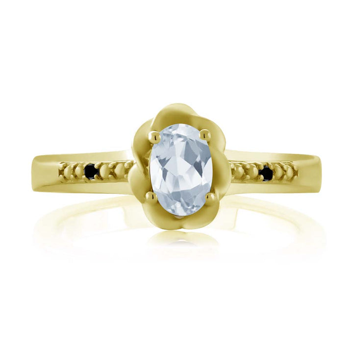 0.51 Ct Oval Sky Blue Topaz Black Diamond 18K Yellow Gold Plated Silver Ring