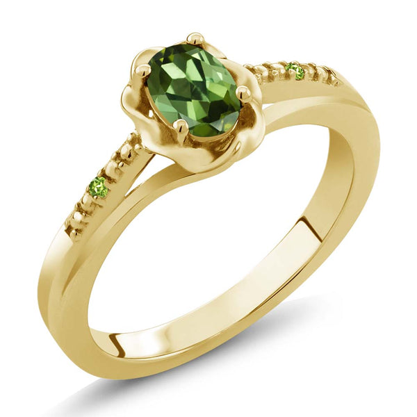 Gem Stone King 0.51ct Green Tourmaline and Simulated Peridot 18K Yellow Gold Plated Silver Ring