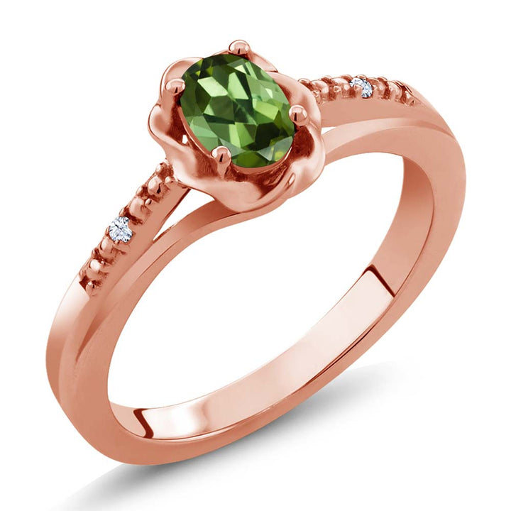 Gem Stone King 0.52 Ct Oval Green Tourmaline White Topaz 18K Rose Gold Plated Silver Ring