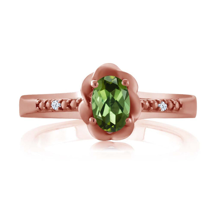 0.52 Ct Oval Green Tourmaline White Topaz 18K Rose Gold Plated Silver Ring