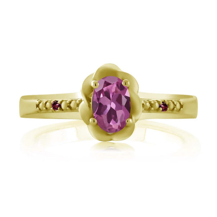 0.52 Ct Pink Tourmaline Red Rhodolite Garnet 18K Yellow Gold Plated Silver Ring