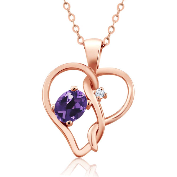 Gem Stone King 0.36 Ct Oval Purple Amethyst White Topaz 18K Rose Gold Plated Silver Pendant