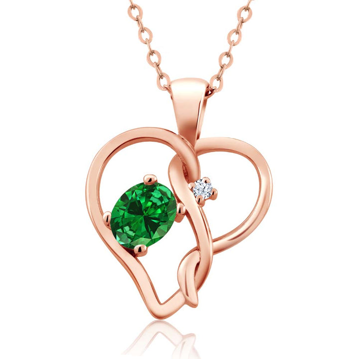 Gem Stone King 0.36 Ct Green Simulated Emerald White Topaz 18K Rose Gold Plated Silver Pendant