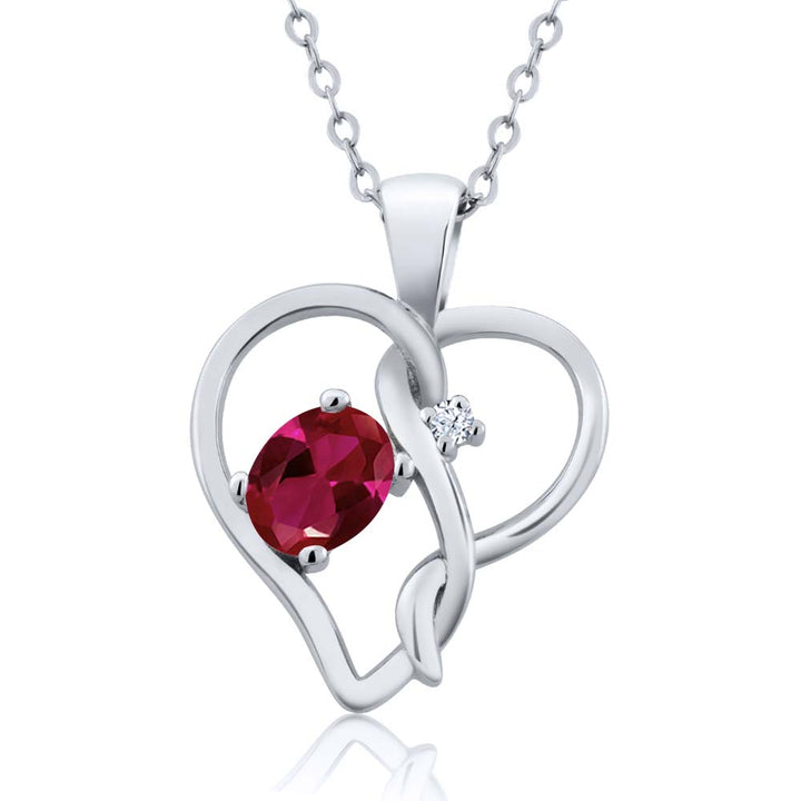 0.51 Ct Oval Red Created Ruby 925 Sterling Silver Pendant