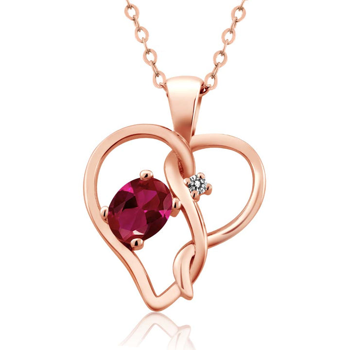 Gem Stone King 0.51 Ct Oval Red Created Ruby White Diamond 18K Rose Gold Plated Silver Pendant