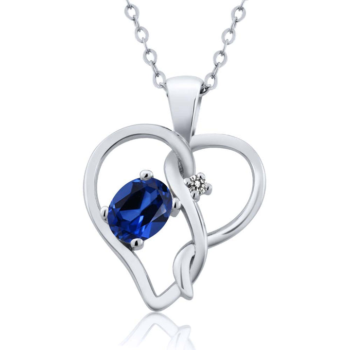 Gem Stone King 0.51 Ct Oval Blue Simulated Sapphire White Diamond 925 Sterling Silver Pendant