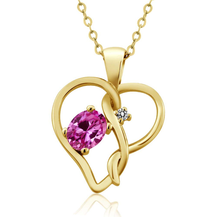 Gem Stone King 0.51 Ct Pink Created Sapphire White Diamond 18K Yellow Gold Plated Silver Pendant