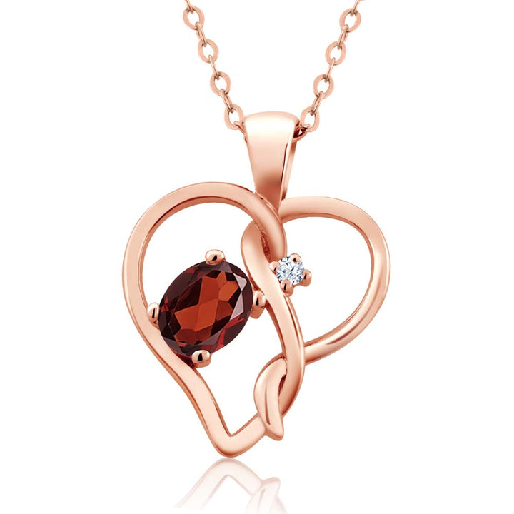 Gem Stone King 0.51 Ct Oval Red Garnet 18K Rose Gold Plated Silver Pendant