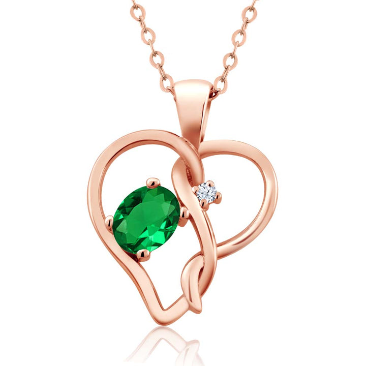 0.41 Ct Green Simulated Emerald White Created Sapphire 18K Rose Gold Plated Silver Pendant