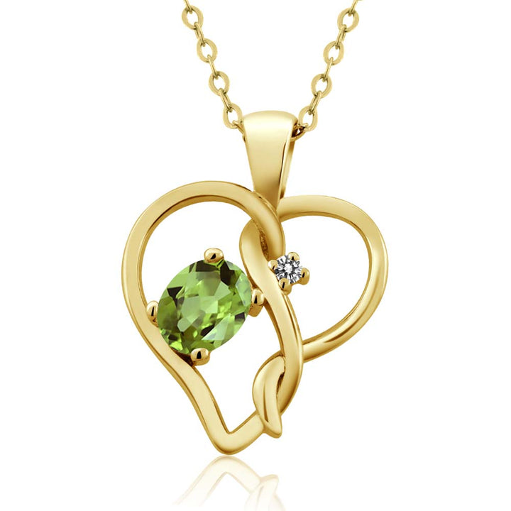 Gem Stone King 0.51 Ct Oval Green Peridot White Diamond 18K Yellow Gold Plated Silver Pendant