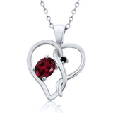 0.51 Ct Oval Red Rhodolite Garnet Black Diamond 925 Sterling Silver Pendant