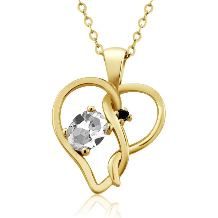 0.51 Ct Oval White Topaz Black Diamond 18K Yellow Gold Plated Silver Pendant