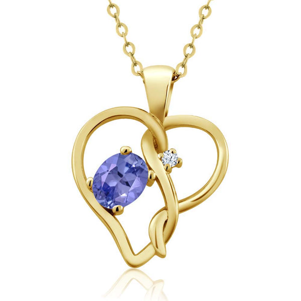 Gem Stone King 0.46 Ct Oval Blue Tanzanite 18K Yellow Gold Plated Silver Pendant