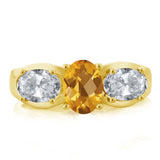1.70 Ct Oval Checkerboard citrine White Topaz 18K Yellow Gold Plated Silver Ring