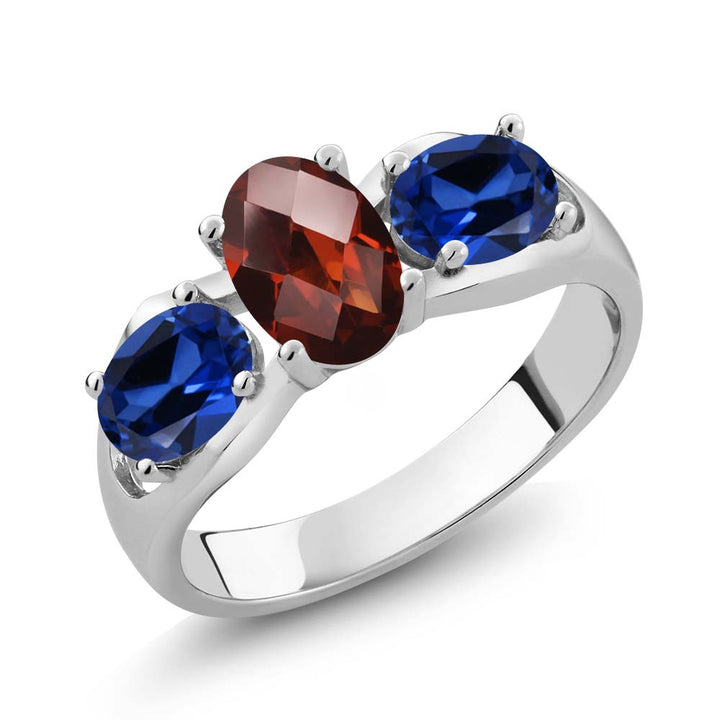 Gem Stone King 1.80 Ct Oval Checkerboard Red Garnet Blue Simulated Sapphire 925 Sterling Silver Ring