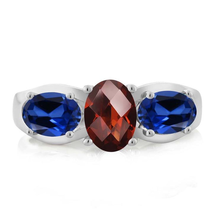 1.80 Ct Oval Checkerboard Red Garnet Blue Simulated Sapphire 925 Silver Ring