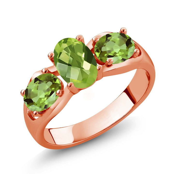 Gem Stone King 1.85 Ct Oval Checkerboard Green Peridot 18K Rose Gold Plated Silver Ring