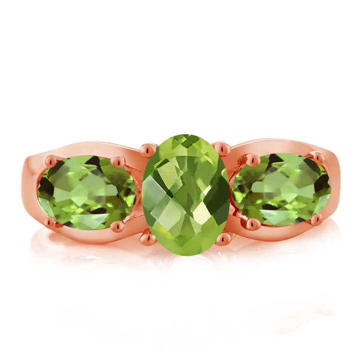 1.85 Ct Oval Checkerboard Green Peridot 18K Rose Gold Plated Silver Ring