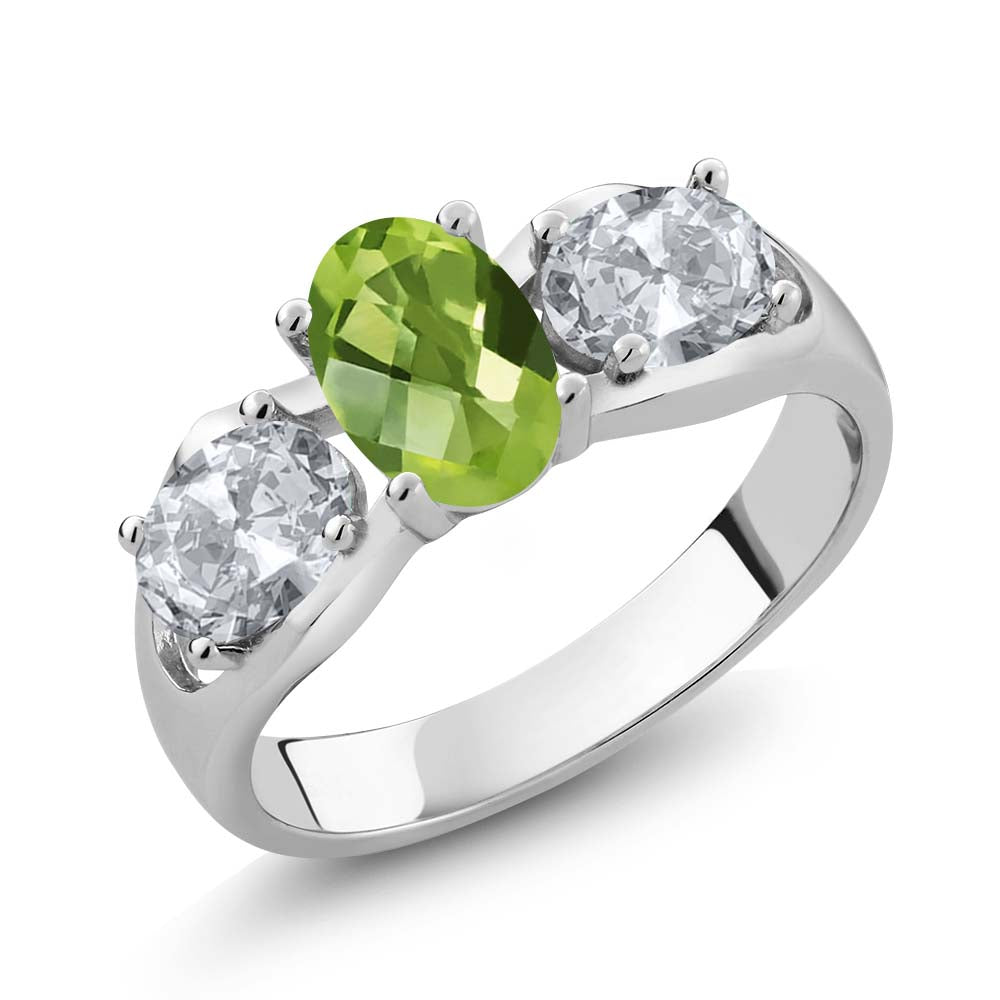 Gem Stone King 1.85 Ct Oval Checkerboard Green Peridot White Topaz 925 Sterling Silver Ring