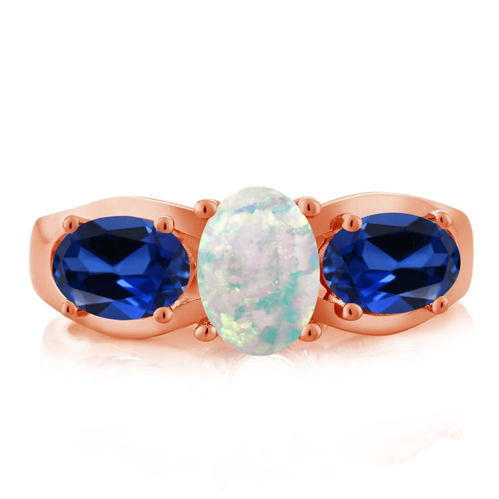 1.63 Ct Oval Simulated Opal Simulated Sapphire 18K Rose Gold Plated Silver Ring