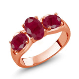 Gem Stone King 2.22 Ct Oval Red Ruby 18K Rose Gold Plated Silver Ring