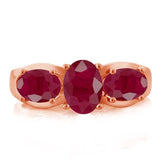 2.22 Ct Oval Red Ruby 18K Rose Gold Plated Silver Ring