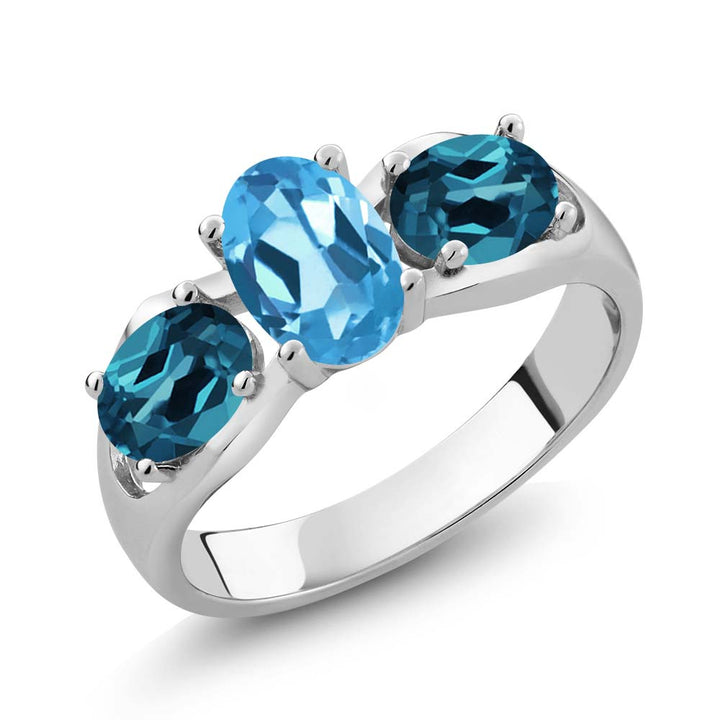 Gem Stone King 1.80 Ct Oval Swiss Blue Topaz London Blue Topaz 925 Sterling Silver Ring