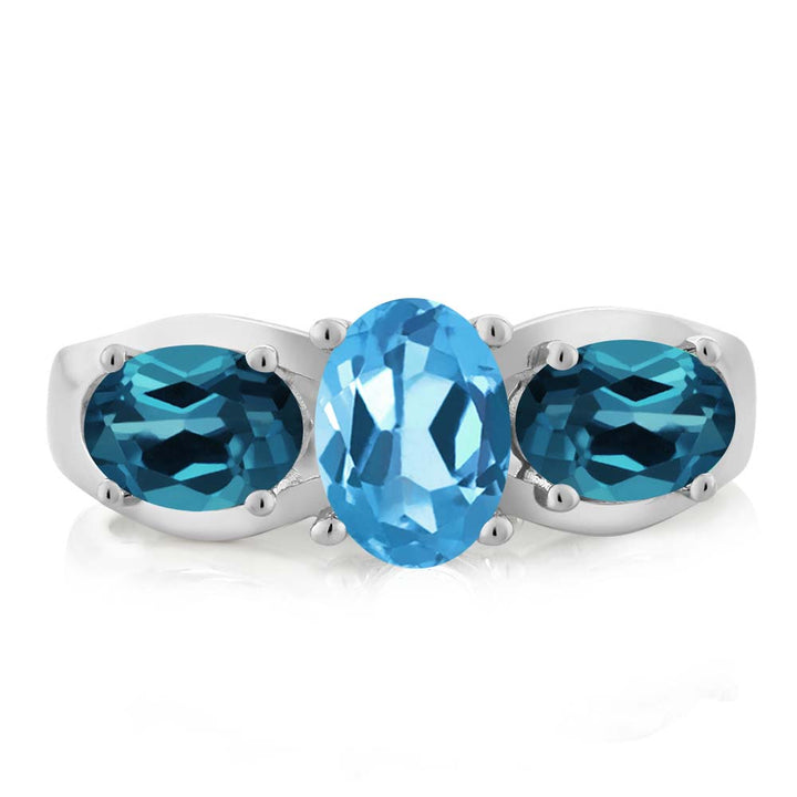 1.80 Ct Oval Swiss Blue Topaz London Blue Topaz 925 Sterling Silver Ring