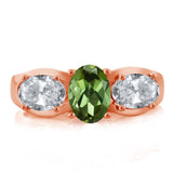 1.70 Ct Oval Green Tourmaline White Topaz 18K Rose Gold Plated Silver Ring