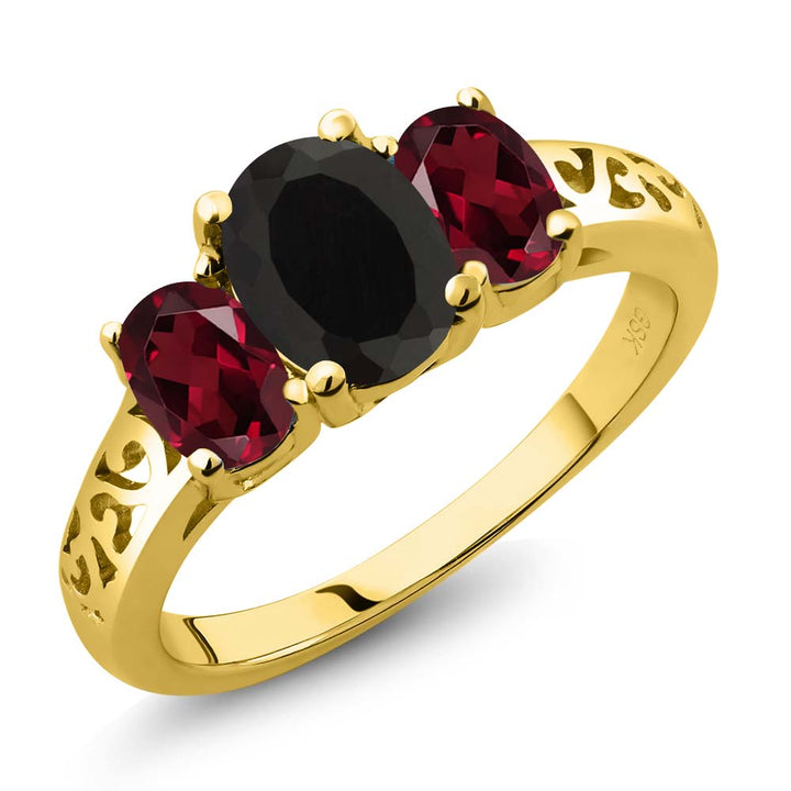 Gem Stone King 2.25 Ct Oval Black Onyx Red Rhodolite Garnet 18K Yellow Gold Plated Silver 3 Stone Ring