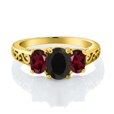 2.25 Ct Oval Black Onyx Red Rhodolite Garnet 18K Yellow Gold Plated Silver Ring