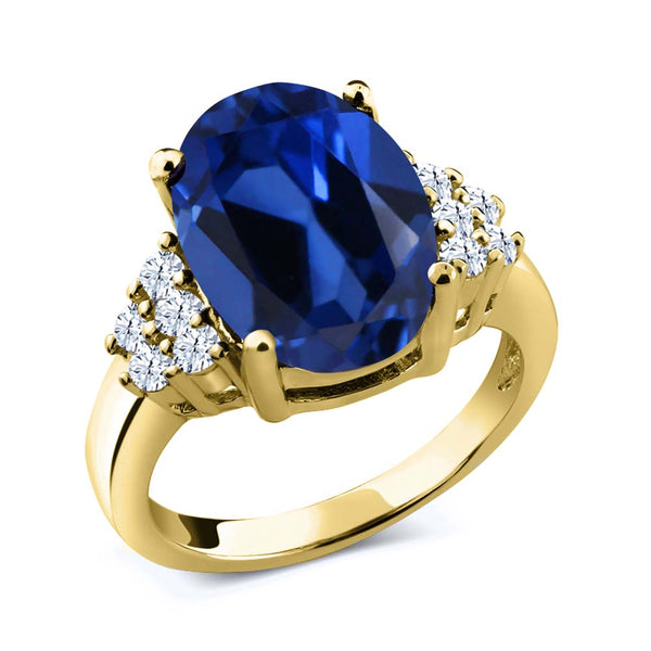 Gem Stone King 6.40 Ct Blue Simulated Sapphire White Topaz 18K Yellow Gold Plated Silver Ring